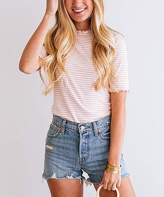 Blush B-Lush So Perla Women's Tee Shirts Blush - Blush Stripe Lettuce-Edge Top - Women