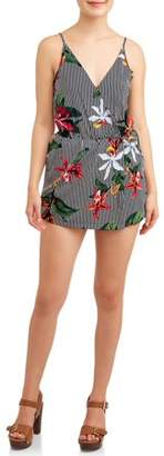 Poof Apparel Juniors' Front Wrap Patterned Romper