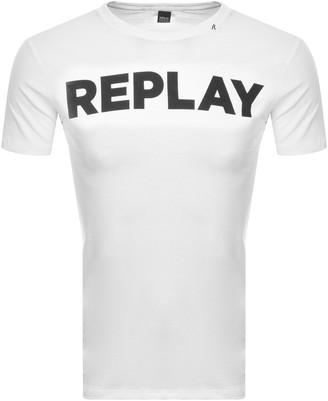 Replay Logo Crew Neck T Shirt White