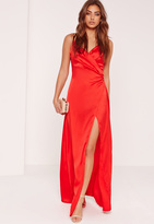 Missguided Silky Wrap Over Maxi Dress Red