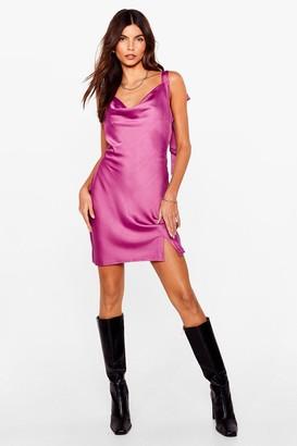 Nasty Gal Womens You've Got Bow Choice Satin Mini Dress - Plum
