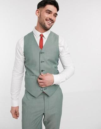 Asos DESIGN wedding slim suit suit vest in dusky green