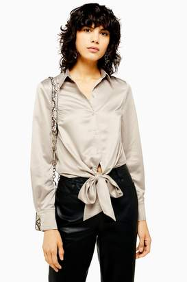 Topshop Womens Satin Knot Front Shirt - Taupe
