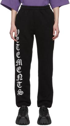 Vetements Black Gothic Logo Lounge Pants