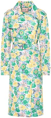 Plan C Floral satin trench coat