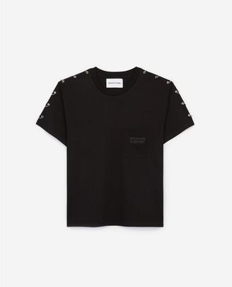 The Kooples Black T-shirt with shoulder piercings