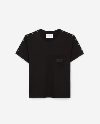 The Kooples Black T-shirt with shoulder piercings