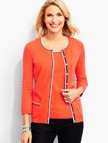 Talbots Charming Cardigan-Tipping Trimmed