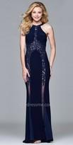 Faviana Sheer Rhinestone Applique Jersey Evening Dress