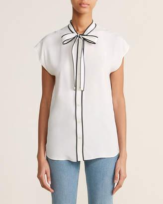 Moschino White Contrast Tie Neck Cap Sleeve Silk Blouse