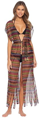 Becca by Rebecca Virtue Carnavale Multicolor Crochet Kimono Cover-Up (Multi) Women's Swimwear