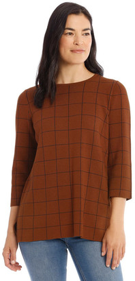 Regatta Check 3/4 Sleeve Tunic Jumper With Side Splits