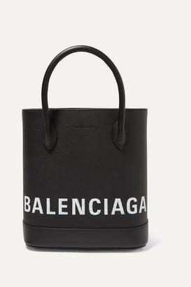 Balenciaga Ville Xxs Aj Printed Textured-leather Tote - Black