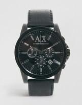 Armani Exchange Black Leather Strap Chronograph Watch AX2098