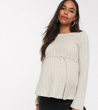 New Look Maternity frill edge top in cream