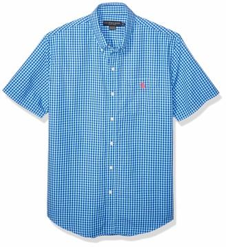 U.S. Polo Assn. Men's Mini Check Short Sleeve Poplin Sport Shirt