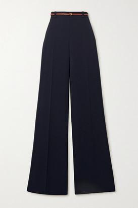 Chloé Belted Crepe Wide-leg Pants - Navy