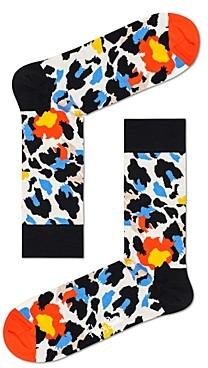 Happy Socks Color-Blocked Leopard Crew Socks