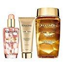 Kérastase Elixir Ultime Huile Lavante Bain 250ml, Fondant Conditioner 200ml And Coloured Hair Oil 100ml Bundle (Pack of 2)