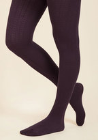 Cable for Discussion Tights in Plum