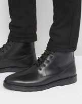 Asos Lace Up Boots In Black Leather With Military Tape Detail