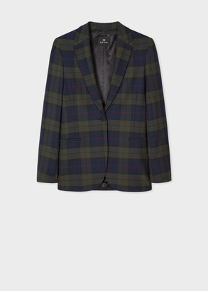 Paul Smith Women's Navy Tartan Wool-Blend Blazer