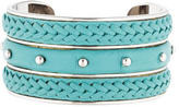 Tod's Studded Leather Braided Cuff Bracelet