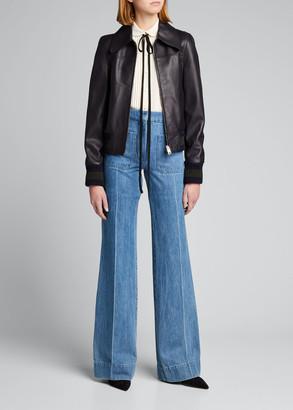 Victoria Beckham Leather Bomber Jacket w/ Stripe Knit Trim