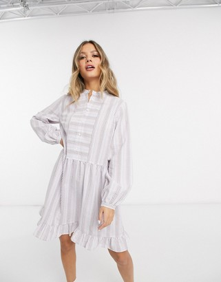 Pieces smock dress with notch detail in pastel stripes
