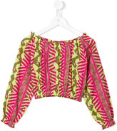 Dondup Kids printed off-the-shoulder blouse