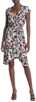 BCBGMAXAZRIA Cap Sleeve Faux Wrap Floral Dress