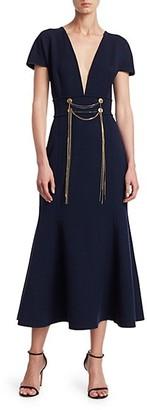Oscar de la Renta Wool-Blend Draped Chain Trumpet Dress