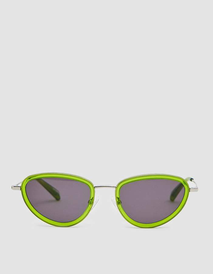 Sun Buddies Left Eye Sunglasses in Silver/Gremlin Green