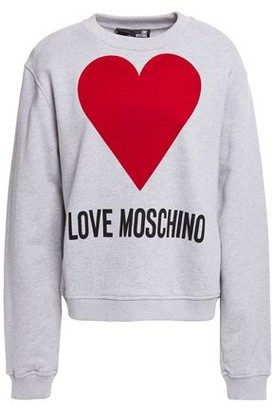 Love Moschino Flocked Printed French Cotton-terry Sweatshirt