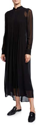 Twin-Set Twinset Pleated Long Sleeve Sheer Midi Dress