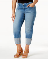 Style&Co. Style & Co Plus Size Cuffed Embroidered Capri Jeans, Created for Macy's