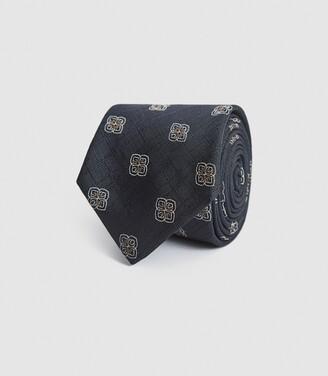 Reiss Matera - Silk Blend Medallion Tie in Charcoal