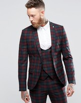 Noose & Monkey Super Skinny Suit Jacket In Plaid with Stretch