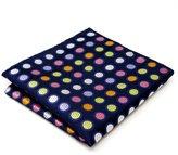 Shlax & Wing Shlax&Wing Extra Long Size Dots Blue Multicolor Mens Neckties Ties Silk