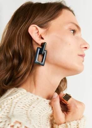 MANGO Resin pendant earrings blue - One size - Women