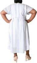 Thumbnail for your product : Sandra Darren Short Sleeve Surplice Linen Midi Dress