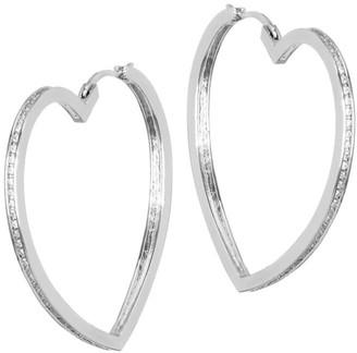 Fallon Pave Heart Hoop Earrings