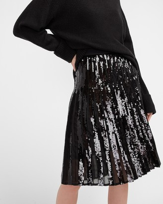 Express High Waisted Sequin Pleated Midi Skirt