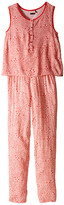 Ikks Sleeveless Printed Jumpsuit with 2-in-1 Look/Button Front/Loose Pants Fit & Elastic Waistband (Little Kids/Big Kids)