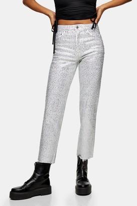 Topshop Womens White Diamante Straight Jeans - White