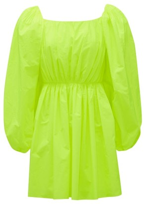 Valentino Puff-sleeve Poplin Mini Dress - Yellow