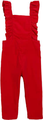 Smiling Button Corduroy Ruffle Overalls, Size 18m-10
