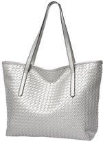 Hattie Women Large Weave PU Leather Tote Shoulder Bag For Work Shopping School
