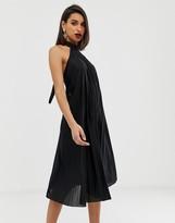 Asos Design DESIGN backless halter pleated midi dress