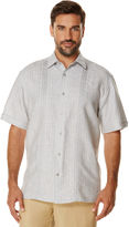 Cubavera Linen Cotton Short Sleeve Dobby Stripe With Embroidery